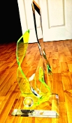 Abstract Lucite Sculpture Clear And Fl Green