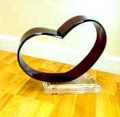 Lucite Lovers Heart Sculpture