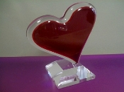Lucite solid Lovers Heart Sculpture