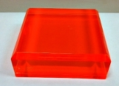 "Lucite FL Red/Orange Solid Block Base 4""x 4""x 1-1/4"" thick"