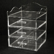 2 - Clear Acrylic Make-Up and Cosmetics Organizer - 3 Drawer