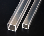 "1 1/2""(OD) x 1 1/4""(ID) x 1/8"" wall Clear Square Tube - 72"""