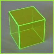"Fl. Green 5 Sided Display Cube 10"" x 10"" x 10"" (1/4"") (2)"