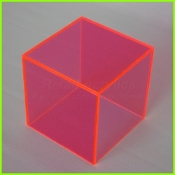 "Fl. Red 5 Sided Display Cube Set (1/4"") - (1) 8"", 10"", 12"" sq"