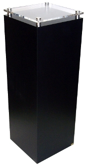 "Black & Clear Square Pedestal w/stand-off - 36"" x 14"""