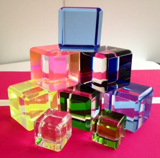 Modern Pop Art - Optical Prism Cube - Tr. Blue - 3 1/2""