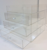 CLEAR ACRYLIC Open Top Display 3 Drawer Organizer Cabinet