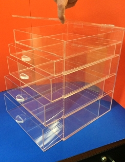 CLEAR ACRYLIC 4 Drawer Organizer Cabinet w/hinged flip top - 4