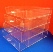 CLEAR ACRYLIC Flat Top Display 4 Drawer Organizer Cabinet