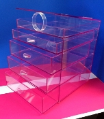 Tr. Violet/Pink Acr 4 Drawer Organizer Cabinet w/hinged flip top