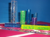 "1 3/4"" dia. Clear Acrylic Rod with Bubble Design - 72"""