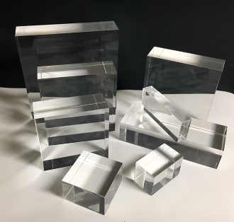 "Clear Lucite/acrylic Solid Block 2"" W x 2"" L x 1"" T - Qty of 5"
