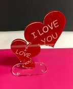 "Red Acrylic/Lucite Laser engraved ""I Love You""  Double Hearts"