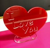 "Red Acrylic/Lucite Printed Laser engraved ""I Love You"" Heart"