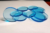 Clear Blue Lucite/acrylic Discs - 1/4 thick 2-1/8 Diameter